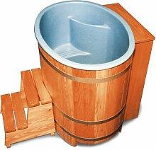 Sauna-Bottich mit Kunststoffeinsatz und Nachfüllautomati, steckerfertig