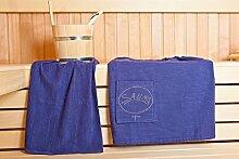 Sauna Damen-Sarong - Sauna-Set Sarong inkl. Badehandtuch - 100% Baumwolle Sarong ca. 130 x 75 cm | Hantuch ca. 50 x 100 cm - Einheitsgröße von S-XXL mit Knöpfen - Farbe: Dunkelblau