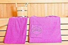 Sauna Damen-Sarong - Sauna-Set Sarong inkl. Badehandtuch - 100% Baumwolle Sarong ca. 130 x 75 cm | Hantuch ca. 50 x 100 cm - Einheitsgröße von S-XXL mit Knöpfen - Farbe: Pink