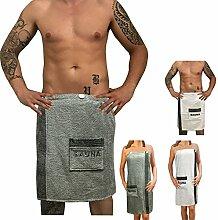 Sauna Frottee Kilt Sarong M-XXL Damen oder Herren von JEMIDI Anthrazit Grau mit Stickerei 100% Baumwolle Saunakilt Saunasarong Saunatuch (Herren Grau)