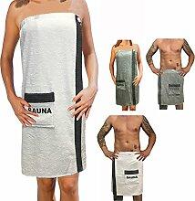 Sauna Frottee Kilt Sarong M-XXL Damen oder Herren von JEMIDI Anthrazit Grau mit Stickerei 100% Baumwolle Saunakilt Saunasarong Saunatuch (Damen Weiß)