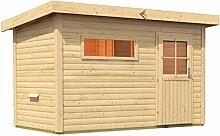 Sauna für den Außenbereich Rauma 3 mit Vorraum 393cm x 231cm x 239cm inkl. Zubehörset 9kW Saunaofen