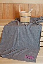 Sauna Herrenkilt - Sauna-Set Kilt inkl. Badehandtuch - 100% Baumwolle Kilt ca. 130 x 50 cm | Hantuch ca. 50 x 100 cm - Einheitsgröße von S-XXL mit Knöpfen - Farbe: Anthrazi