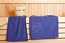 Sauna Herrenkilt - Sauna-Set Kilt inkl. Badehandtuch - 100% Baumwolle Kilt ca. 130 x 50 cm | Hantuch ca. 50 x 100 cm - Einheitsgröße von S-XXL mit Knöpfen - Farbe: Dunkelblau