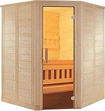 Sauna mit Eckeinstieg 145 x 145 x 204 mit Saunaofen Combi-Sauna Bio