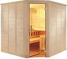 Sauna mit Eckeinstieg 206 x 206 x 204 mit Saunaofen finnischer Betrieb
