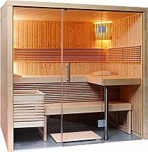 Sauna mit Glasfront Harvia Steamer Bio Saunaofen Steuerung Fühler 214 x 160 cm Panorama S