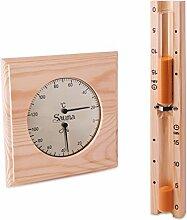 Sauna Set - Hygrometer Thermometer & Sanduhr Basic Klimamesser Meßgerä