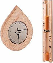 Sauna Set - Hygrometer Thermometer & Sanduhr Tropfenform Klimamesser Meßgerä