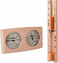 Sauna Set - Hygrometer Thermometer & Sanduhr -zweigeteilt- Klimamesser Meßgerä