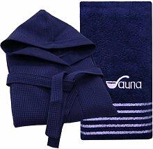 Sauna-Set - Saunatuch 80 x 200 cm blau Qualität 500 g/m² 100 % Baumwolle mit sinlook Waffelpique Bademantel Saunamantel mit Kapuze blau Unisex Größe M (46/48)