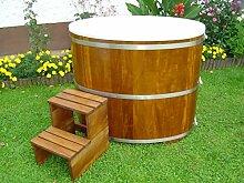 Sauna Tauchbecken aus Kambalaholz mit Kunststoffeinsatz und Kunststoffdeckel