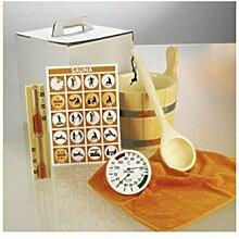 Sauna Zubehörset 6-tlg. Aufgusskübel, Thermo-/Hygrometer und Schöpfkelle