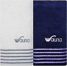 Saunahandtuch weiß blau Saunatuch Herren und Saunahandtuch Damen Sauna Handtücher im 2 tlg. Set Saunatücher 80x200 cm 100% Baumwolle Frottee Saunatuch xxl