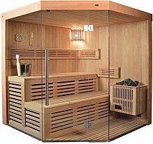 Saunakabine Sauna komplett Saunen Massivholz Traditionelle Sauna HELENA 180 x 180cm