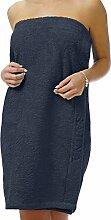 Saunakilt Dame blau - dunkelblau XXL in Übergröße, das Saunatuch aus schlingenfesten Frottee, Sauna Sarong mit Klettverschluss und Gummizug