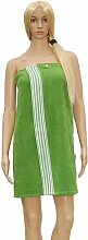 Saunakilt Dame grün Sonderedition, das Saunatuch aus Frottee Baumwolle, Sauna Sarong mit Druckknöpfen, Tasche und Gummizug