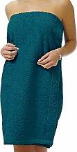 Saunakilt Dame petrol - blau, das Saunatuch aus schlingenfesten Frottee, Sauna Sarong mit Klettverschluss und Gummizug