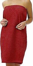 Saunakilt Dame rot, das Saunatuch aus schlingenfesten Frottee, Sauna Sarong mit Klettverschluss und Gummizug