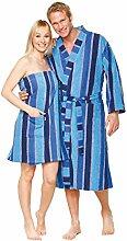 Saunakilt für Frauen, 100% Baumwolle mit Klettverschluss, 350 g/ m², Größe L (Blau)