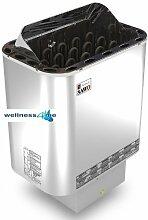 Saunaofen Nordex 9 kW Außenmantel Edelstahl, ohne Steine