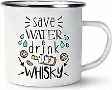 Save Wasser Getränk Whisky Emaille Becher