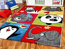 Savona Kinder Teppich Kids Lustige Zootiere Bunt