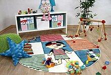 Savona Kinder Teppich Kids Piratenwelt Bunt Rund