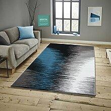 Savoy Läufer Bettumrandung im Modernen Design Teppich Florhöhe 11 mm Farbe Silber-Türkis Größe: 80x300 cm