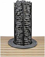 Sawo Tower Heater Saunaofen Sentiotec 6 KW mit Saunasteine, Bankumrandung Reling mit Bankumrandung Edelstahl ohne Ofenreling ohne Saunasteine