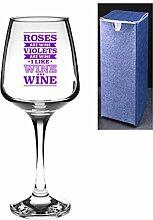 Say it with Glass Neuheit TALLO Wein Glas–Rosen sind Wein, Veilchen sind Wein, I Like Wine, violett, Engrave A Personal Message On The Reverse Side