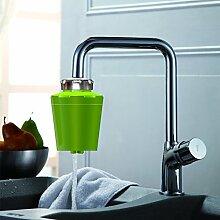 Sayou® Wasserhahn Filter / Wasser Filtersystem / Wasserfilter Wasserhahn / Leitungswasser Filter mit Drilling Crystal Carbon Filter Cartridge für Küche (Grün)