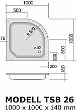 sb026 Duschwanne Viertelkreis 100x100 R 50 cm, H 14