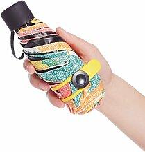 SBBCW 5-fach Mini Sonnenschutz- Leichtgewichtige Vinyl UV MS Barometer Taschen Regenschirm