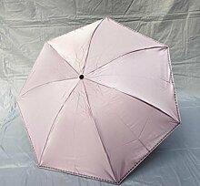 SBBCW Einfache Solide Vinyl UV-Schutz Sonne Sonnenschutz Dual Barometer Regenschirme,Pink