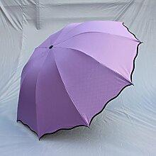SBBCW Neue Art Und Weise UV Dreifach Verstärkung Sonnenschutz Blinkend Lotusblatt Kreativität Regenschirm,Purple