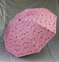 SBBCW Zu Erhöhen Fett Stäbe Vinyl Sonnenschutz- Knochen 10 Gefalzt Gefaltet Regen Oder Sonnenschein Dual Umbrella,Pink
