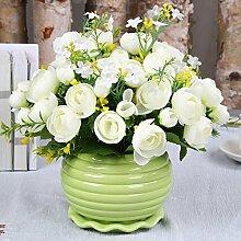 sbfwh Künstliche Blumen, Vase + Fake Blumen Seide Kunststoff Künstliche Rosen Brautschmuck Hochzeit Bouquet für Home Garden Party Hochzeit Dekoration, 03