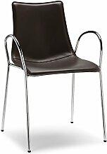 Scab Design Designer Stuhl mit Armlehnen Zebra Pop Armrests dunkelbraun, Lederimita