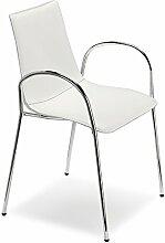 Scab Design Designer Stuhl mit Armlehnen Zebra Pop Armrests weiß, Leder