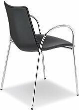Scab Design Designer Stuhl mit Armlehnen Zebra Pop Armrests schwarz, Leder
