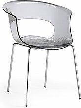 Scab Design Designer Stuhl mit Chrombeinen Miss B Antishock 4 Legs anthrazit transp.
