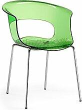 Scab Design Designer Stuhl mit Chrombeinen Miss B Antishock 4 Legs grün transparen