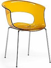 Scab Design Designer Stuhl mit Chrombeinen Miss B Antishock 4 Legs orange transparen