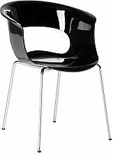 Scab Design Designer Stuhl mit Chrombeinen Miss B Antishock 4 Legs schwarz