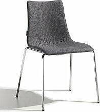 Scab Design Designer Stuhl mit Chrombeinen Zebra Pop 4 Legs grau, Textil