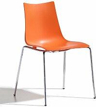 Scab Design Designer Stuhl mit Chrombeinen Zebra Technopolymer 4 Legs orange
