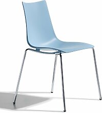 Scab Design Designer Stuhl mit Chrombeinen Zebra Technopolymer 4 Legs hellblau