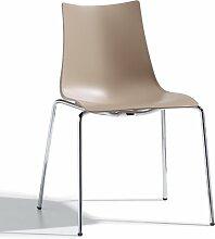 Scab Design Designer Stuhl mit Chrombeinen Zebra Technopolymer 4 Legs grau