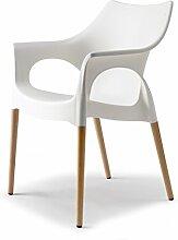Scab Design Designer Stuhl mit Holzbeinen Linen Natural Ola